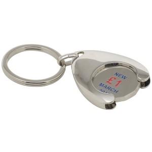 Stamped Enamel Wishbone Trolley Token Key Ring