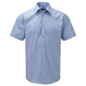Russell Collection Mens Short Sleeve Herringbone Shirt
