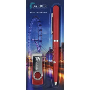 Blister Packed Balfour Ballpen With Twister USB Flash Drive