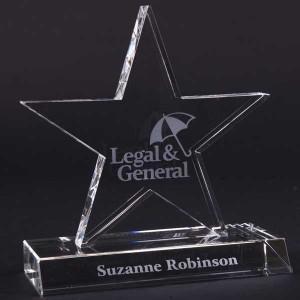 16cm Optical Crystal 5 Pointed Star Award