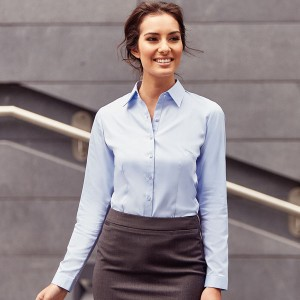 Russell Collection Ladies Herringbone Shirt