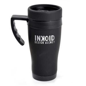 Black Rubberised Travel Mug
