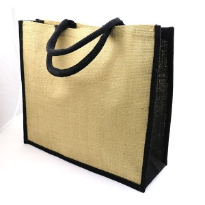 Large Natural Bag with Dyed Gusset