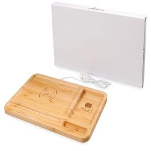 Frame Bamboo Wireless Charging Desk Organiser