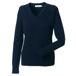 Russell Collection Ladies V-Neck Knitted Sweatshirt
