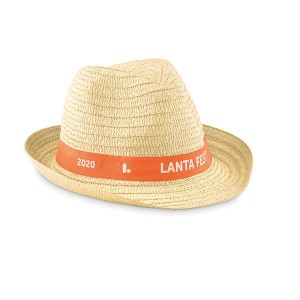 Straw Hat with Printed Ribbon