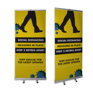 Roller Banner with Social Distancing Message